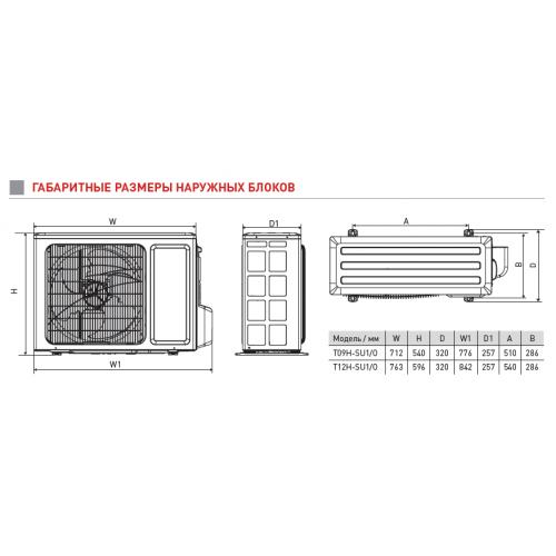 Настенные сплит-системы TOSOT серии U-GRACE 1 T12H-SU1 /I-W/ T12H-SU1/O