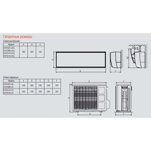 Настенные сплит-системы FUJITSU серии Slide ASYG12LUCA / AOYG12LUC